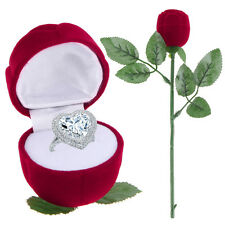 Unique Red Rose Engagement Wedding Ring Earrings Jewelry Gift Box Case