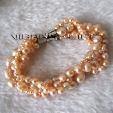 8 Inches 4-8mm Peach Pink Off Round Rice 4 Row Freshwater Pearl Bracelet ACO UE