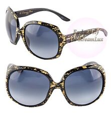 CHRISTIAN DIOR GLOSSY 1G 93HHD Oversized Round Black Gold Women Sunglasses