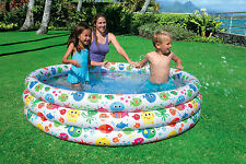 Intex 3 Ring Colour Large Paddling Pool Kids Swimming Pool Childrens Play Pool