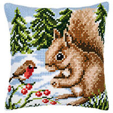 Vervaco Christmas Cross Stitch Cushion Kit : Winter Scene Squirrel/Robin