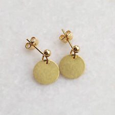 Disc Circle Earrings . Simple Raw Brass Gold Ear Studs Minimalist Jewellery UK