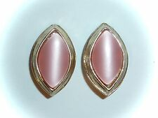 VINTAGE - PINK MOONGLOW THERMOSET CLIP-ON EARRINGS