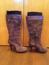 Guess Brown Suede Platform Stiletto High Heel Boot with Built-In Sock - Sz. 8.5