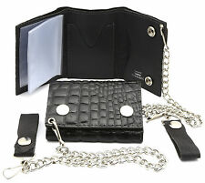 Trifold USA Made Genuine Leather Biker Wallet with Crocodile Scale with a Chain