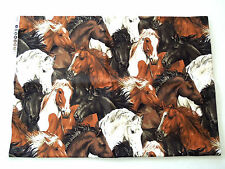 """Run Free"" Brown, Black and White Horse Fabric by Fabric-Quilt 3/4 Yard NEW"