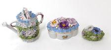 3 Vintage Flower Encrusted Porcelain Miniatures Germany Watering-Can Swan Box