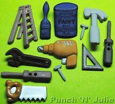 TOOL TIME - DIY Handyman Builder Hammer Paint Novelty Dress It Up Craft Buttons