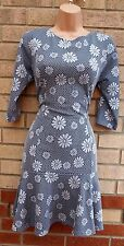 LUSTRE WHITE BLUE SPOTTY FLORAL DAISY PRINT FISHTAIL TUBE SEXY A LINE DRESS 12 M