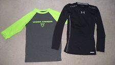 2 Boys Size Youth Small S Under Armour Heat Gear Shirts 1 L/S Compression Black