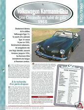 VW Volkswagen Karmann-Ghia 14 / 4 Cyl. 1955 Germany Car Auto Retro FICHE FRANCE