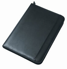 Black A4 Portfolio Presentation Organiser Folder Folio Leather Zip Ring Binder