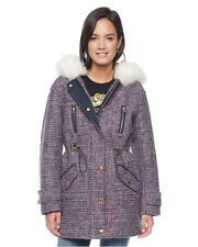 JUICY COUTURE Bonded Tweed Parka Faux Fur Trim Hood Jacket Size XS New $398