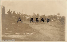 WW1 panoramic view of German troops & transport on the Arras Bapaume road France