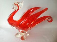 Vintage Murano Chalet Art Glass Big Swan/Bird Red and Clear