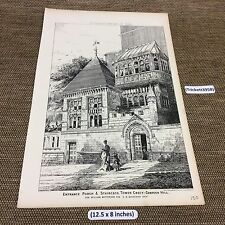 1884 original Architect print, Entrance Porch Staircase Tower Crecy Campden hill