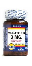 Basic Vitamin Melatonin 3mg - helps insomnia and jet lag, 200 tabs