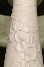 """A.K. KaIser Retro Bisque Relief 9"""" White W/ Flowers Vase W Germany 655/2"""