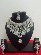 Indian Bollywood Style Rhodium Plated Fashion Bridal Jewelry Necklace Set