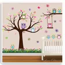 Owl Animal Wall Stickers Jungle Zoo Tree Nursery Kids Baby Room Decals Art Mural
