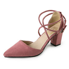 Sexy Women's Block Kitten High Heels Suede Leather Shoes Pumps Pointed sandals