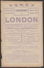 QUEENS PARK RANGERS 1910-1911 RARE ORIG RAILWAY HANDBILL CRYSTAL PALACE SWINDON