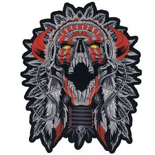 LARGE HORNED CHIEF DEATH SKULL INDIAN MOTORCYCLE BIKER BACK PATCH