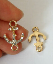 5 anchor charms pendant connector rhinestone gold tone UK wholesale