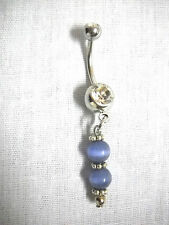 NEW HAND MADE PURPLE CATS EYE BEADS FANCY CHARM on DBL CLEAR CZ BAR BELLY RING