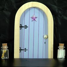 Lilac Blue Fairy Faerie Elf Door with Fairy Dust and Magic Key