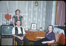 Family Poses Near Retro Television Set TV Vintage 1950s Slide Photo