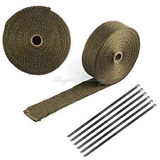 "50Ft x 2"" Titanium Fiberglass Header/Exhaust Heat Wrap Roll Car Motorcycle 6 Tie"