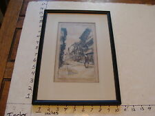 Vintage Framed ARt: European Village sceen Engraving signed HAROLD FIELD KELLOGG