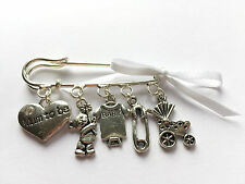 Mum to be - Baby Shower - Christening - BROOCH pin gift charms with ribbon bom