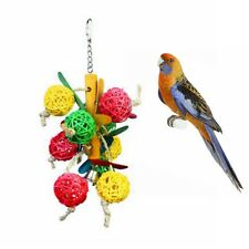 Colorful Wood Hanging Chew Bell Ball Cage Playing Pet Parrot Bird Parakeet Toy