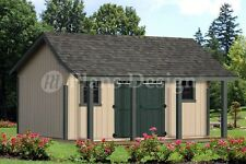 16 x 16 ft Guest House Storage Shed with Porch Plans / Plueprints  #P81616