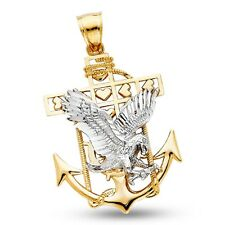 Eagle Anchor Pendant Solid 14k Yellow Gold Mariner Heart Charm Religious Fancy