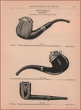 Smoking Pipes, Applewood, Rosewood, etc. catalog page antique original 1893