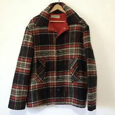 Vintage Deerskin Trading Post Wool Blend Plaid Coat Black Red Cream