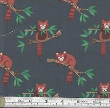 PATCHWORK/ CRAFT FABRIC FAT QTR LEWIS & IRENE MIN SHAN DESIGN - RED PANDAS