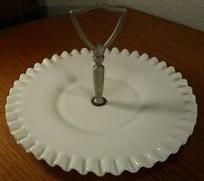 """Fenton White Glass Ruffled Edge Plate/Platter W/Handle & Hobnail Bottom 8 & 1/4"""""""