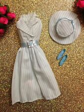 VINTAGE FASHION AVENUE SEASONS BLUE WHITE STRIPES BARBIE DOLL FASHION OUTFIT ~