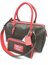 GUESS Handbag&Wallet Set*Transit*Natural Brown/Red/G Logo  Satchel Shoulder