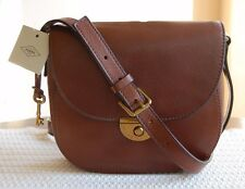 NWT Fossil Leather Emi Saddle Bag Brown ZB6851200