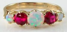 CLASSIC HAND MADE 9K GOLD AUS OPAL &  RUBY HALF ET RNG