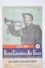 "Original WWII RCAF THE CALL TO DUTY Canadian Royal Air Force on Canvas 20"" x 32"""