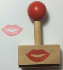 Kiss Wooden Rubber Stamp - Party Gift Craft DIY Wedding Hobby Card
