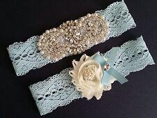 Wedding Bridal Garter - Crystal Pearl Ivory Flower Light Blue Lace Garter Set