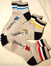 KEITH HARING x UNIQLO SPRZ NY 'Dog, Baby...' 3 Pairs Pile Ankle Socks Gray *NWT*