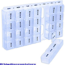 28 small Compartment Pill Box 7 Day Medicine Storage Organizer Container Case !!